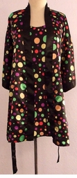 SOLD OUT! Black Polka Dot Plus Size Nighty & Robe Set 2x