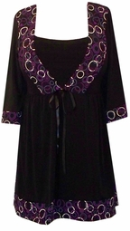 SOLD OUT! Black & Purple Circles Babydoll Tie Slinky Shirts 4x