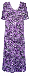 SOLD OUT! Black & Purple Daisies Slinky Plus Size & Supersize Customizable Dresses Shirts & Jackets Lg to 9x