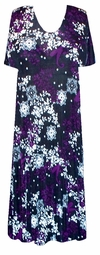 SOLD OUT! Black Purple & White Pansies Slinky Plus Size & Supersize Customizable Dresses Shirts & Jackets Lg to 9x