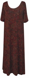 SOLD OUT! Black Red Tan Paisley Plus Size Slinky Dress Large
