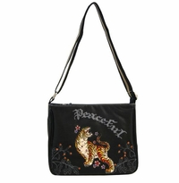 "SOLD OUT! Black Tattoo Print ""Peaceful"" Tiger  w/ Rhinestones Faux Leather Messenger Bag"