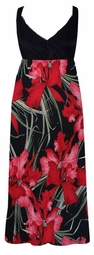 SOLD OUT!!!!!!Black Top with Red & Black Floral Bottom Plus Size & Supersize Slinky Empire Waist 3x