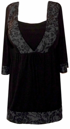 SOLD OUT! Black w/Gray Floral Trim Babydoll Tie Slinky Shirts 4x