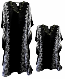 Sold Out!!!  Black & White Border Print Poly/Satin Plus Size & Supersize Caftan Dress or Shirt 1x to 6x