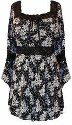SOLD OUT! Black & White Floral Lace Trim Slinky Plus Size Shirts 4x
