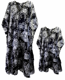 SOLD OUT!!!!!!!!!!!!!Black & White Floral Print Poly/Satin Plus Size & Supersize Caftan Dress or Shirt 1x to 6x