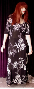 SOLD OUT!!!!Black & White Floral Slinky Plus Size Supersize Dress
