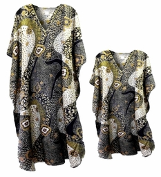 Sold Out!!!!! Black White & Gold Print Poly/Satin Plus Size & Supersize Caftan Dress or Shirt 1x to 6x