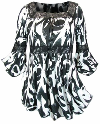 SOLD OUT!!!!Black & White Print Lace Trim Slinky Plus Size Shirts  4x