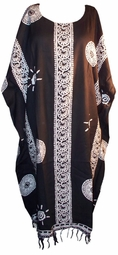 SOLD OUT! Black & White Sunny Design Rayon Plus Size & Supersize Caftan Dress 1x to 6x