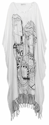SOLD OUT!!!!!Black & White Women Sequins Rayon Plus Size & Supersize Caftan Dress 1x to 6x