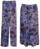 SOLD OUT! Blue Abstract Floral Slinky Plus Size & Supersize Pants & Skirts
