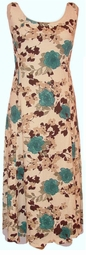 SOLD OUT! Blue & Beige Floral Linen Plus Size & Supersize Princess Cut Dress 2x