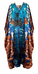 SOLD OUT!!!!!Blue & Brown Poly/Satin Plus Size & Supersize Caftan Dress 1x to 6x