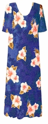 SOLD OUT! Blue Floral Slinky Plus Size & Supersize Customizable Dresses Shirts & Jackets Lg to 9x