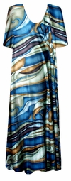 SOLD OUT! Blue, Green & Brown Waves Slinky Plus Size & Supersize Customizable Dresses Shirts & Jackets Lg to 9x