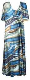 SOLD OUT! Blue, Green & Brown Waves Slinky Plus Size Supersize  Dress 4x/5x