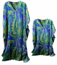 SOLD OUT! Blue & Green Paisley Print Poly/Satin Plus Size & Supersize Caftan Dress or Shirt 1x to 6x