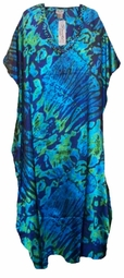 SOLD OUT!!! Blue & Green Tiedye Sequins Poly/Satin Plus Size & Supersize Caftan Dress 1x to 6x