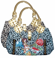 SOLD OUT! Blue Leopard Print Tattoo Angel Love and Lucky Fun w/ Rhinestones Purse