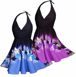 SOLD OUT!!!!!!!!!!! Blue or Purple Floral Plus Size & Supersize Halter 2pc Swimdress 1x