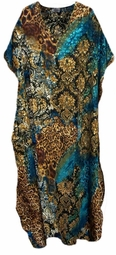 SOLD OUT!!!! Blue & Tan Leopard Floral Plus Size & Supersize Caftan Dress 1x to 6x
