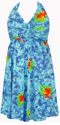 SOLD OUT!!!Blue TieDye Floral Halter SwimDress SwimSuit