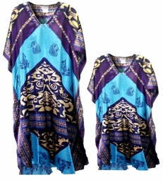 SOLD OUT! FINAL SALE! Blue Tropical Geometric Print Poly/Satin Plus Size & Supersize Caftan Dress or Shirt 1x to 6x