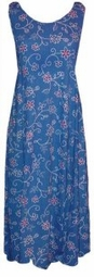 SOLD OUT! Blue & White Mock Embroidered Plus Size & Supersize Princess Cut Dress 0x