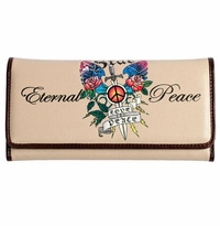 SOLD OUT! Bone Edith Tattoo Print Eternal Love & Peace Synthetic Leather Wallet