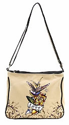 SOLD OUT!!!! Bone Tattoo Print Bird with Love w/ Rhinestones Faux Leather Messenger Bag
