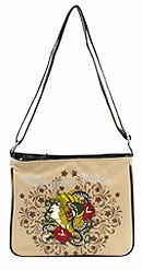 SOLD OUT!! Bone Tattoo Print Eternal Peace Medusa w/ Rhinestones Faux Leather Messenger Bag