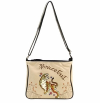 "SOLD OUT! Bone Tattoo Print ""Peaceful"" Tiger  w/ Rhinestones Faux Leather Messenger Bag"