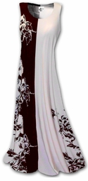SOLD OUT!!!!!!!!! SALE!!!!!!!!!!! Brown & Cream Floral Split Print Slinky Plus Size & Supersize A-Line Tank Dresses  6x