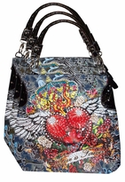 SOLD OUT! Brown Denim Tattoo Love is Forever Flaming Heart w/ Rhinestones Purse