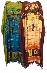 SOLD OUT! LAST ONE !Brown or Green African Print Sequins Rayon Plus Size & Supersize Caftan Dress 1x to 6x