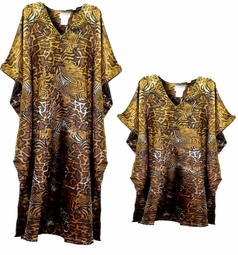 Sold Out!!! Brown & Tan Animal Print Poly/Satin Plus Size & Supersize Caftan Dress or Shirt 1x to 6x