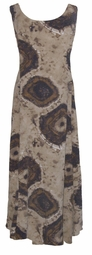 SOLD OUT!!!!!!!!!!Brown TieDye Heavier Weight Spandex Slinky Plus Size & Supersize Princess Cut Dresses   5x 6x