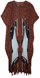 SOLD OUT!!!!Brown Warrior Sequined Neckline Rayon Plus Size & Supersize Caftan Dress 1x to 6x