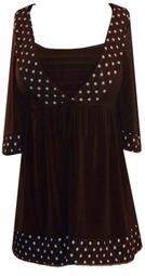 SOLD OUT! Brown White & Silver Polka Dot Babydoll Tie Slinky Shirts 5x