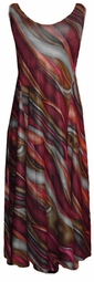 SOLD OUT!! Burgundy Green Gray Abstract Slinky Plus Size & Supersize Princess Cut Dresses