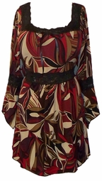 SOLD OUT! Burgundy Tan & Black Lace Trim Slinky Plus Size Shirts 5x