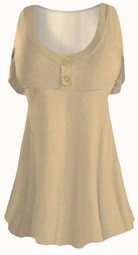 SOLD OUT!!! Camel Tan Cotton Lycra Mock Button Top Plus Size & Supersize Short Sleeve Shirt