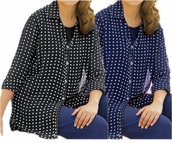 SOLD OUT! CLEARANCE! 2pc Black or Navy & White Dots Plus Size Supersize Shirt Set 6x