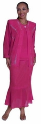 SOLD OUT!!!CLEARANCE! 3-Piece Hot Pink Fuschia & Silver Rhinestone Plus Size Jacket, Top & Skirt Set 4x