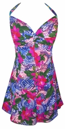 SOLD OUT! CLEARANCE! Adorable Pink Floral Festival Plus Size & Supersize 2 Piece Princess Cut Swimdress 1x