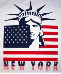 SOLD OUT! CLEARANCE! American Liberty Flag New York on White Plus-Size Cotton T-Shirt 6XL