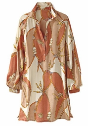 SOLD OUT! CLEARANCE! Beautiful Camel Plus-Sized Equestrian Print Blouse 22w/2x