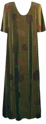 SOLD OUT! CLEARANCE! Beautiful Green Leaves Fall Plus-Size Slinky Dress 3x